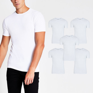 River Island White muscle fit T-shirt 5 Pack