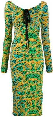 Versace leopard baroque print ruched dress