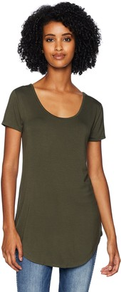 Daily Ritual Jersey Short-sleeve Scoop-neck Longline T-shirt White-Navy Stripe US XXL (EU 3XL-4XL)