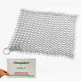 """Amagabeli 8""""x8"""" Stainless Steel 316L Cast Iron Cleaner - Chainmail Scrubber for Cast Iron Pan Pre-Seasoned Pan Dutch Ovens Waffle Iron Pans Scraper Cast Iron Grill Scraper Skillet Scraper"""