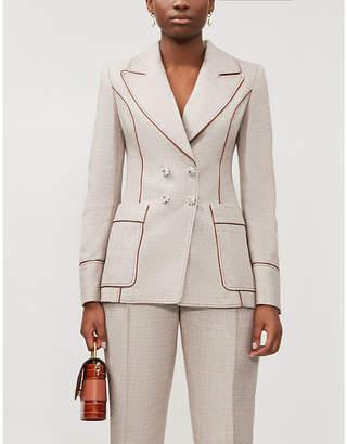 Peter Pilotto Checked metallic-woven blazer