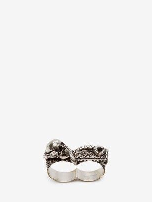 Alexander McQueen Skull and Snake Double Ring