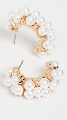 Kenneth Jay Lane Cluster Imitation Pearl Half Hoops