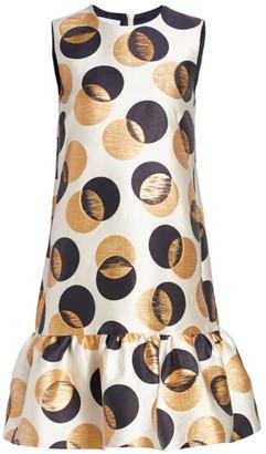 Akris Punto Metallic Polka Dot Shift Dress