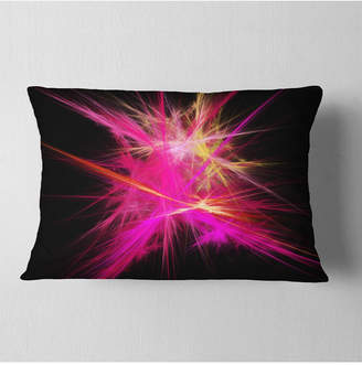 """Chaos Designart Pink Fractal Multicolored Rays Abstract Throw Pillow - 12"""" X 20"""""""