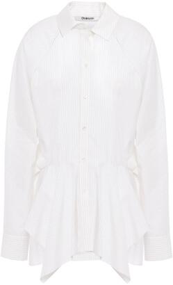 Chalayan Ruffled Pinstriped Cotton-poplin Peplum Shirt