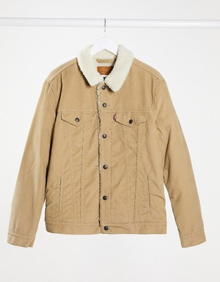 Levi's type 3 borg lined cord trucker jacket in true chino