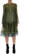 Alberta Ferretti Long Sleeve Lace Detail Dress