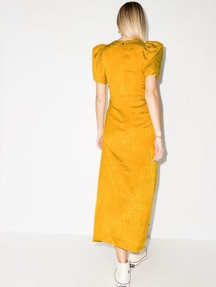 Rotate by Birger Christensen Alma V-neck puff-sleeve dress