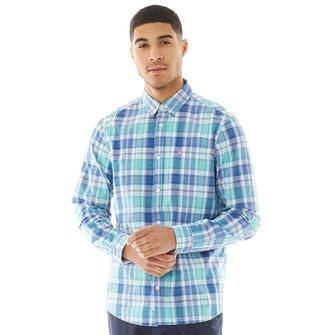 Jack Wills Mens Earlston Classic Poplin Check Long Sleeve Shirt Teal