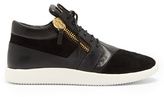 Giuseppe Zanotti Runner Mid-top Leather And Suede Trainers