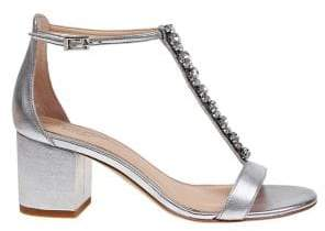 Badgley Mischka Lindsey Embellished Metallic Leather Sandals