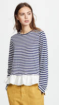 Clu Asymmetric Stripe T-Shirt with Ruffles