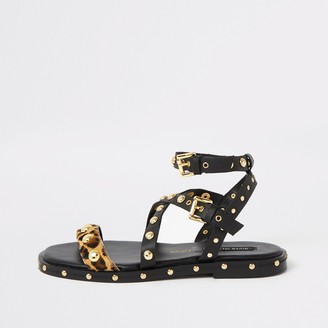 River Island Womens Black leather stud wide fit gladiator sandal