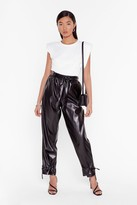 Nasty Gal Womens Tie 'Em Down Faux Leather High-Waisted Trousers - black - 6