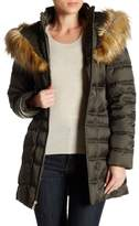 Betsey Johnson Quilted Puffer Lace-Up Faux Fur Trim Hooded Jacket