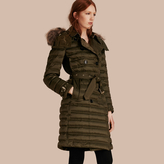 Burberry Down-Filled Puffer Coat with Fur Trim