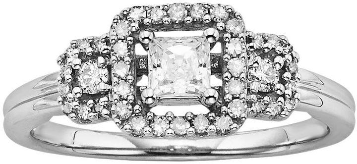 Simply Vera Vera Wang Diamond 3-Stone Halo Engagement Ring in 14k White Gold (1/2 ct. T.W.)