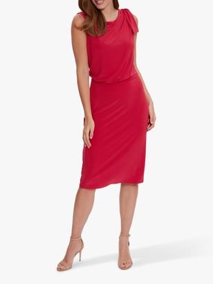 Gina Bacconi Estefani Bow Shoulder Jersey Dress, Poppy