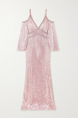 Jenny Packham Lea Cold-shoulder Crystal-embellished Sequined Tulle Gown - Pastel pink