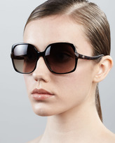 Diane von Furstenberg Elisa Oversized Square Sunglasses, Black Tortoise