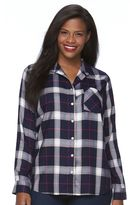 Croft & Barrow Plus Size Plaid Boyfriend Shirt