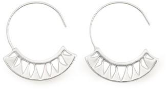 Alex and Ani Sterling Silver Blue Lotus Hoop Earrings