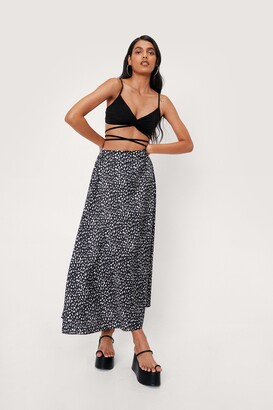 Nasty Gal Womens Flowy Abstract Maxi Skirt - Mono - 4