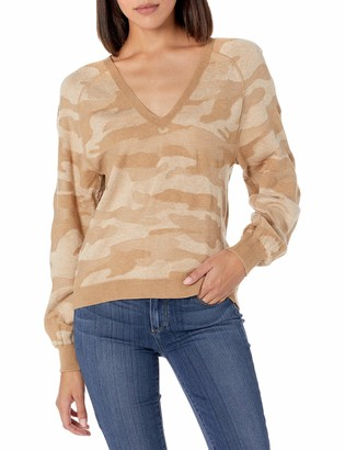 Lucky Brand Women's Long Sleeve V-Neck Camo Stitch Pullover Sweater