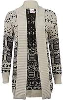 RIDDLED WITH STYLE Ladies Long Sleeve Front Open Owl Print Cardigan Womens Knitted Winter Sweater