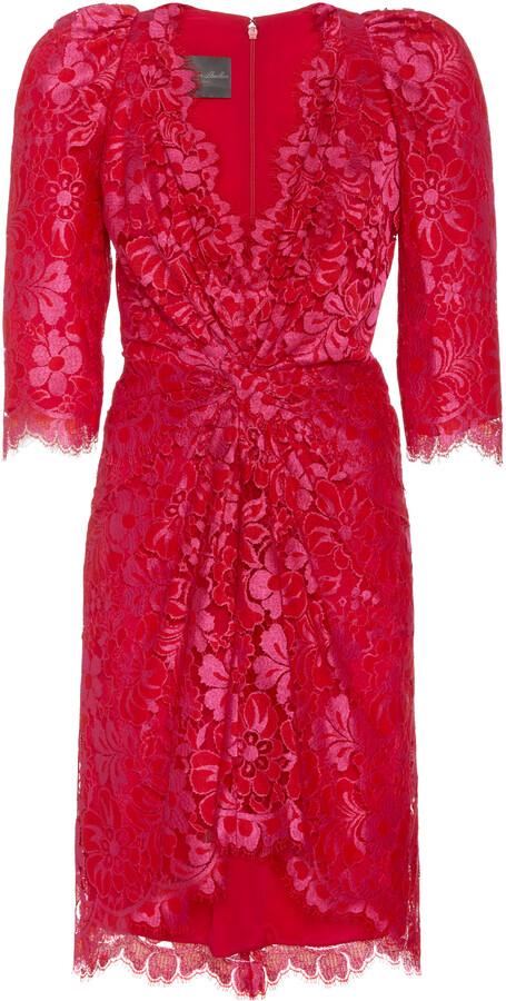 Monique Lhuillier Women's Knotted-Front Guipure Lace Mini Dress - Red - Moda Operandi