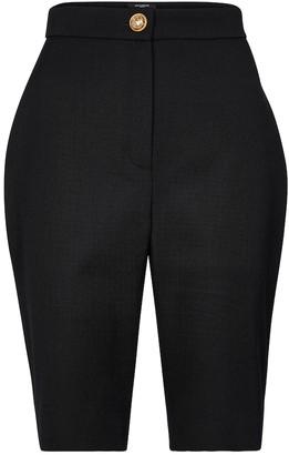 Balmain High-rise wool shorts