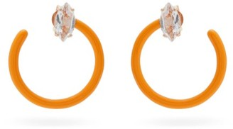 BEA BONGIASCA Tendril Crystal, Rose-gold & Enamel Hoop Earrings - Orange Multi