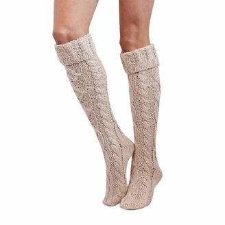 Keerads Accessory Clearance KEERADS Cable Knit Leg Warmers Over the Knee High Socks Knit Boot Socks Stockings(Beige)