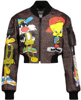 Moschino Cropped printed faux leather jacket