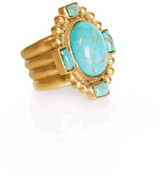 Christina Greene Southwestern Statement Ring In Turquoise