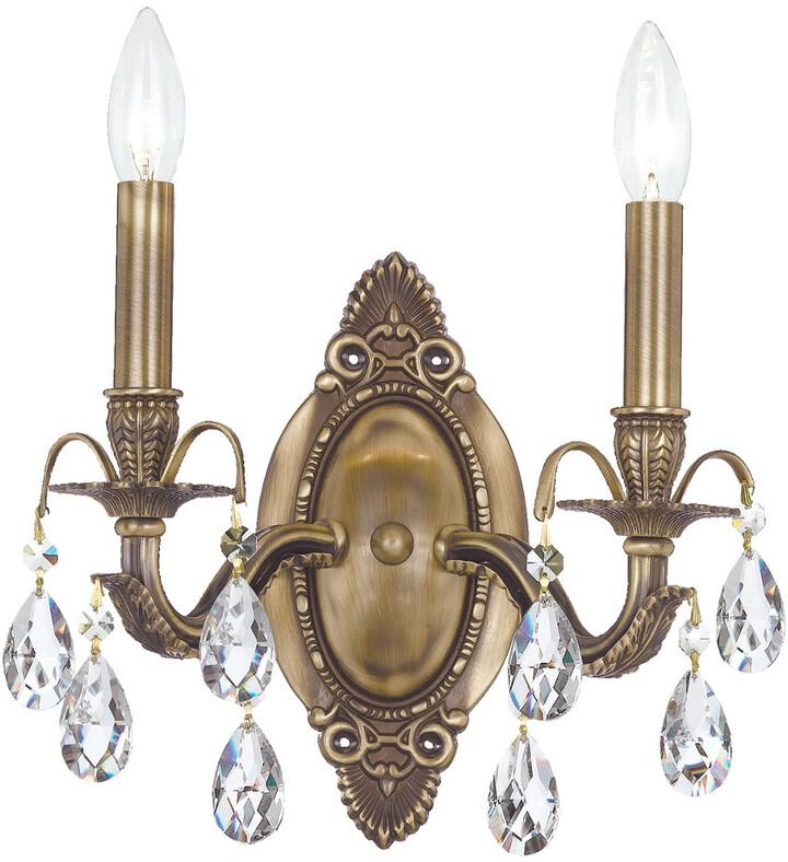 Dawson 3 light Antique Brass Swarovski Strass Crystal Mini Chandelier