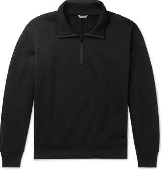 AURALEE Fleece-Back Cotton-Blend Jersey Half-Zip Sweater