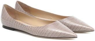 Jimmy Choo Love croc-effect leather ballet flats
