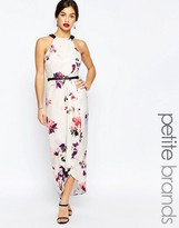Little Mistress Petite Floral Printed Halter Maxi Dress With Wrap Skirt