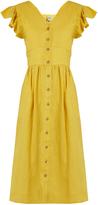 Sea Ischia ruffled-sleeve linen dress