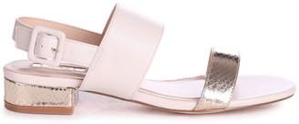 Linzi CHESKA - Nude Gold Lizard Small Block Heeled Sandal