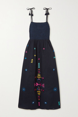 Figue Azalea Embroidered Cotton Midi Dress - Navy
