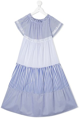 Miss Blumarine Paneled Peasant Dress