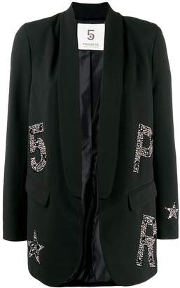 5 PROGRESS crystal embellished logo blazer
