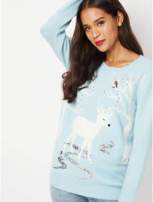 George Blue Sequin Reindeer Scene Christmas Jumper