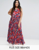 Lovedrobe Plus Pleated Maxi Dress In Floral Print
