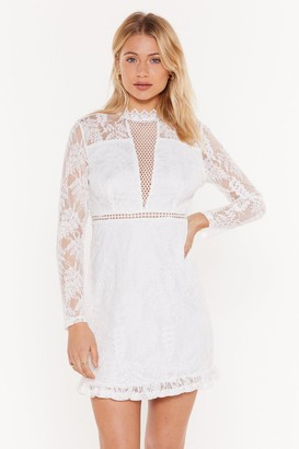 Nasty Gal Womens Lace Do This High Neck Mini Dress - White - 6