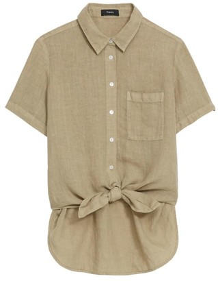 Theory Hekanina High-Low Linen Blouse