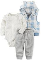 Carter's 3-Pc. Hooded Vest, Bear-Print Bodysuit & Jogger Pants Set, Baby Boys (0-24 months)